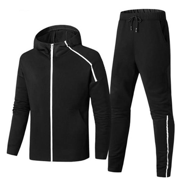 Hommes Survêtements sport Suit Ensembles Imprimer Vestes Courir Printemps Zipper Pantalon noir Ensembles de mode casual pour les hommes 8966