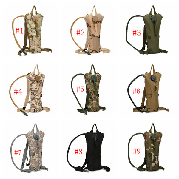 top popular Outdoor Sports Mountain Hiking Climbing 2.5L TPU Tactical Hydration Water Backpack Bag Camouflage Hydration Packs 9 Colors ZZA389 2019