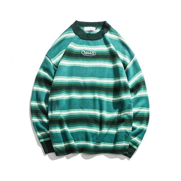 Pop 2019 Knitted Japanese Harajuku Style Striped Sweater For Men Urban Boys Street Wear Crewneck Embroidery Pullover Jumper Oversized