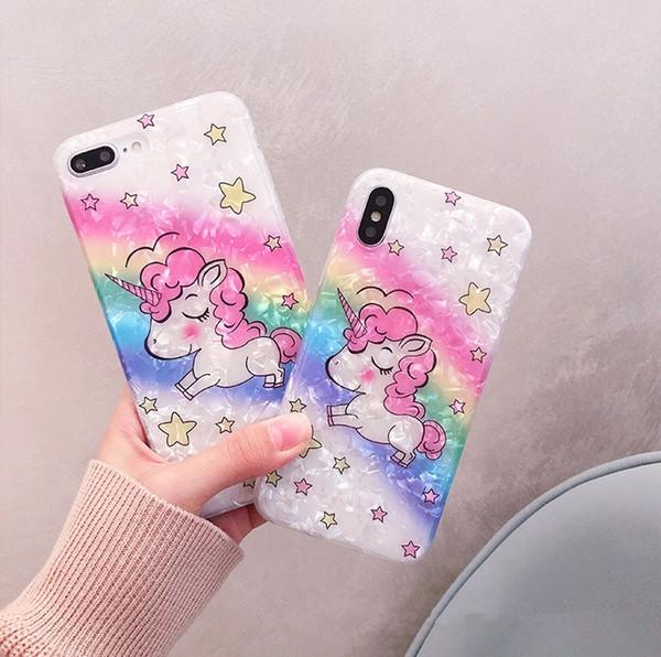 Красочный чехол для телефона Unicorn для Iphone X XR XS MAX Милый мультфильм Лошадь Мягкая задняя крышка Чехол для Iphone 6 7 8 Plus