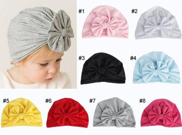 8 colori Baby Girl Bow hat moda morbida Candy Colore Indina Style Girl Infant Hair Hair Bows Accessori per capelli