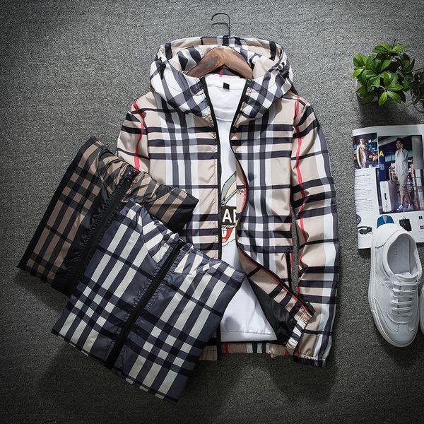 best selling Fashion Jacket Casual Windbreaker Long Sleeve Plus Size M-5XL Mens Jackets Zipper Pocket Mens Hoodie Coat Plaid Jackets