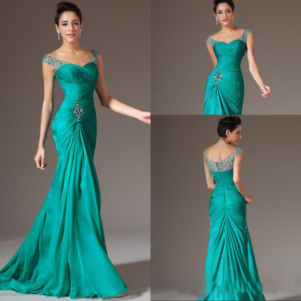 2019 Newest Mermaid V-neck Floor Length Turquoise Chiffon Cap Sleeve Prom Dresses Beaded Pleats Discount Prom Gowns Formal Evening Dresses