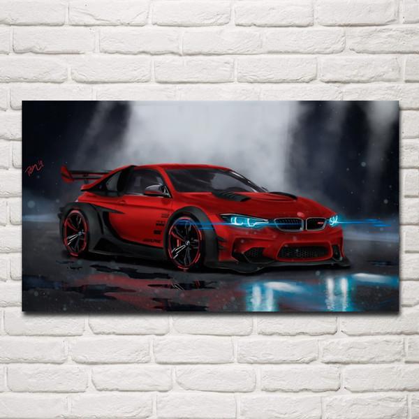 Serin kırmızı supercar spor araba konsept sanat oturma odası dekor ev duvar sanatı dekor ahşap çerçeve kumaş posterler KG659