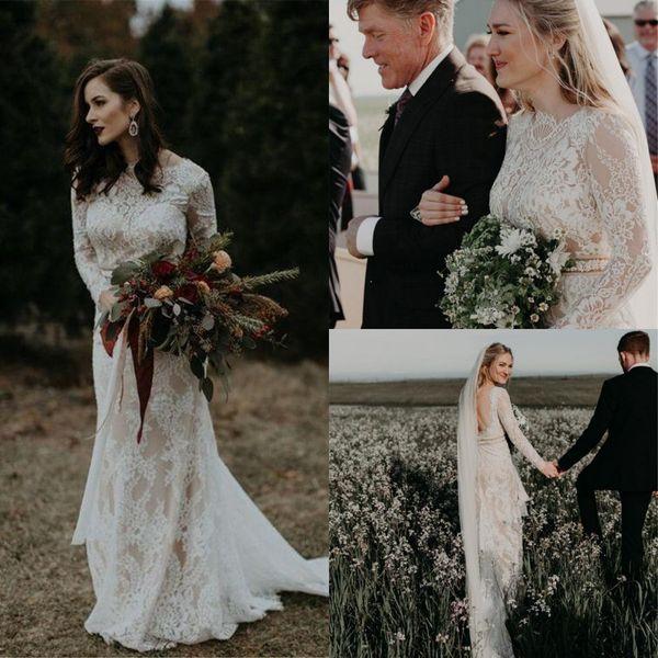 Урожай с длинными рукавами полный шнурок Bohemain Свадебные платья Недорого Назад Mermaid Beach Boho Страна Плюс Размер Свадебные платья