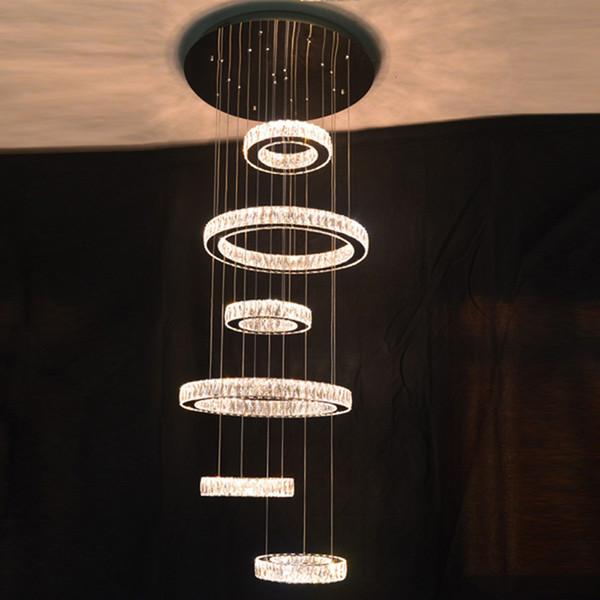 Moderne 6 anneaux escalier LED K9 cristal suspension luminaire en acier inoxydable lampes suspendues rondes lumières suspendues pour villa haut plafond