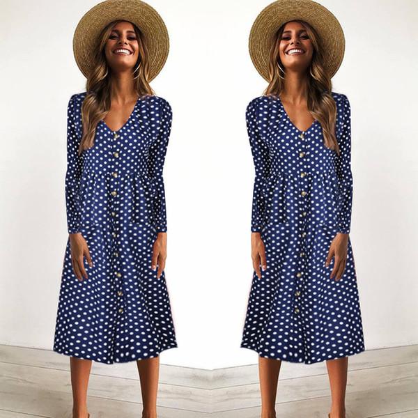Kadın Elbiseler Yeni Polka Dots Elbise Sahil Tatil Elbise Yaz Plaj Boho Uzun Elbise Uzun Kollu 722-5