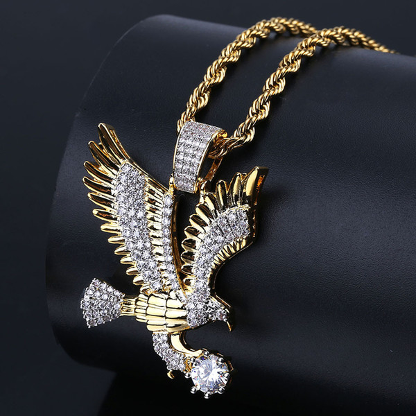Copper with Zircon Eagle Pendant Necklace Jewelry 24inch Rope Chain Real Iced out Men Bling bling necklace wholesale