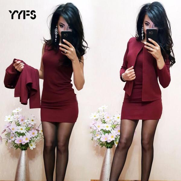 Yyfs формальные костюмы женские сексуальные оболочки O-образным вырезом мини-платье повседневная пальто две штуки 2019 новая мода garnitur damski устанавливает блейзер