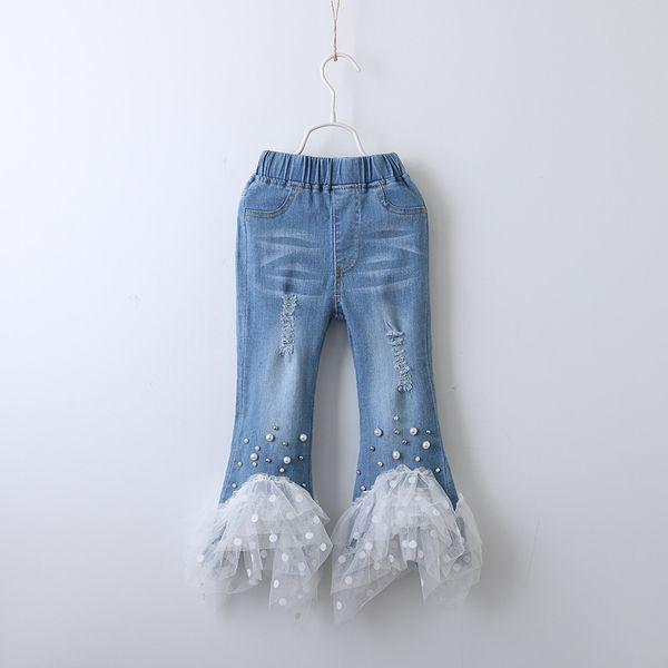 Moda bambini buco jeans ragazze in rilievo denim splicing polka dot pizzo pantaloni in tulle bambini doppia tasca elastico principessa pantaloni