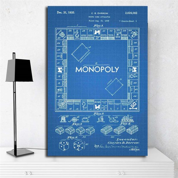 The blue Vintage Monopolyingly Game Board Wall Art Canvas Poster And Print Canvas Painting Decorative Picture For Bedroom Home Decoration