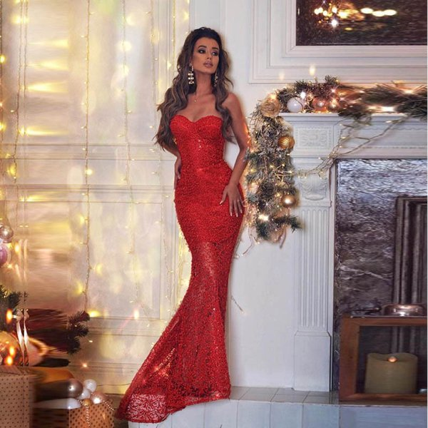 2019 Plus Size Elegant Burgundy Mermaid Evening Dresses Strapless Sweetheart Sleeveless Floor Length Lace Up Prom Dresses