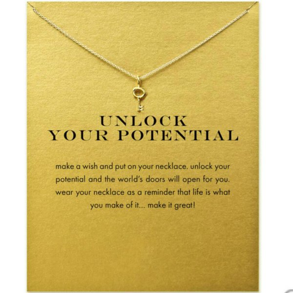 Unlocking Key Alloy Pendants With 20 Inches Chain Gold Silver Colors Key Pendant Necklace Fashion Jewelry