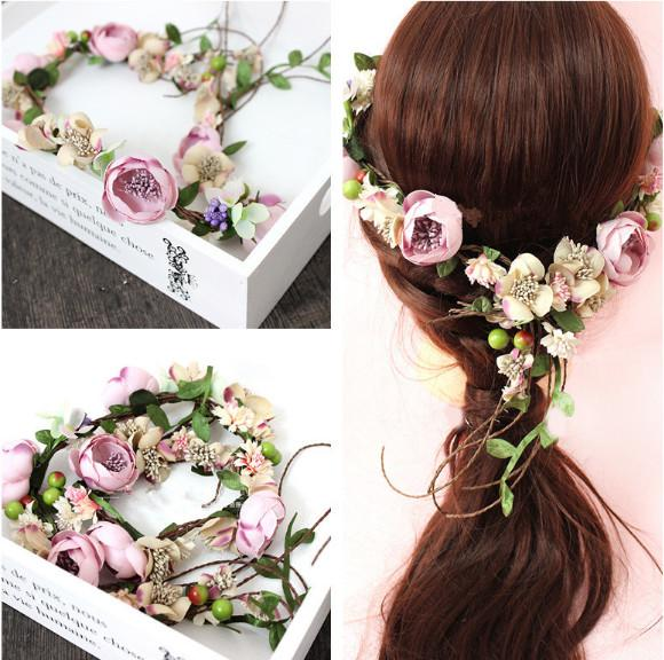 Flower Wreath Girl Head Rose Crown Bridal Hair Accessories Wedding Headband Party purple Floral garlands Adjustable