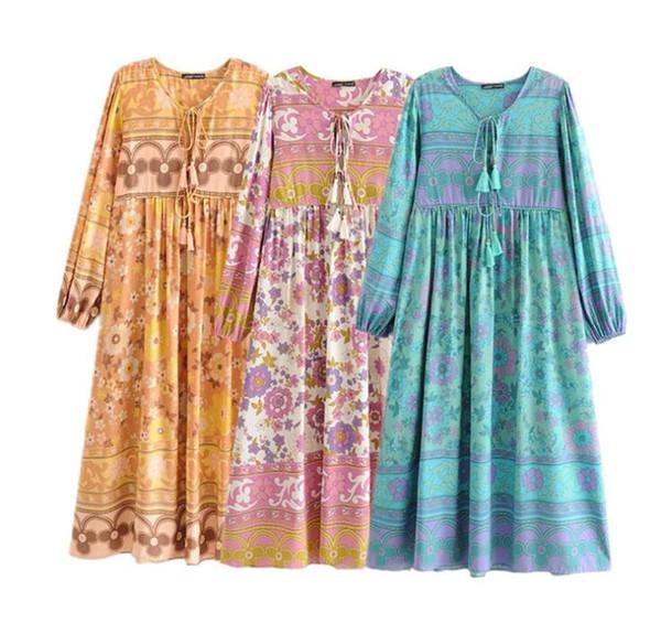 top popular Women Floral Print Maxi Dress New V-Neck Sexy Long Sleeve Vintage Bohemian Beach Vacation Vestidos Spring Summer Loose Casual Boho Dresses 2020