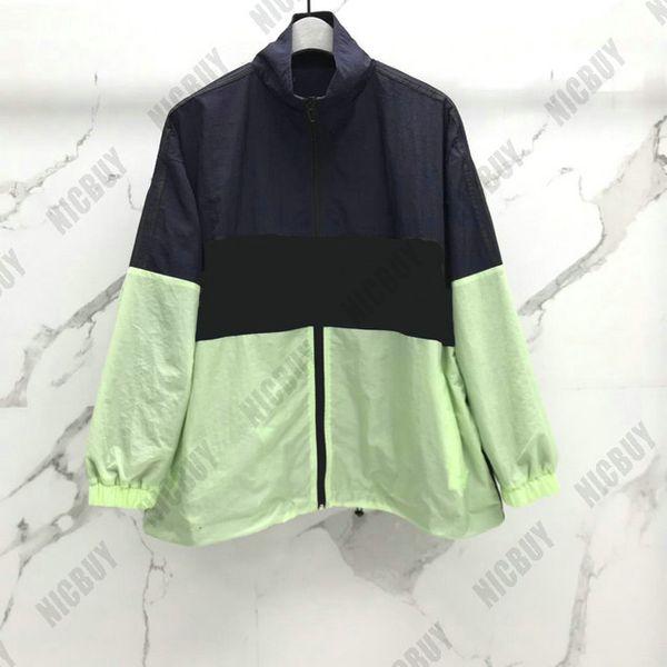 Melhor qualidade designer de moda marca mens clothing blusão carta impressão patchwork cor zip streetwear outwear vento poeira casaco jaqueta