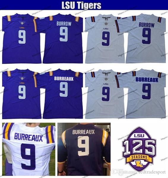 2019 LSU Tigers 125th Joe Burreaux White 9 Joe Burrow College Football Jerseys Mens Stitched Purple Shirts