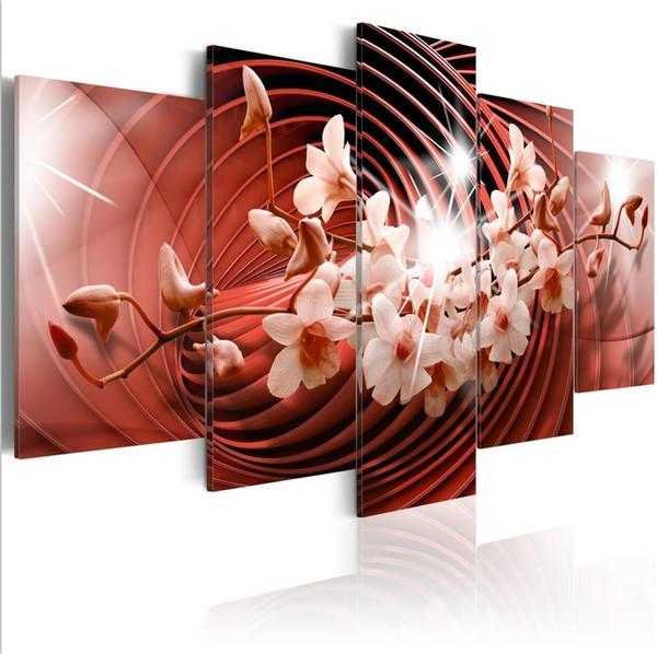 (Sem Moldura) 5 Pçs / set Abstrata Moderna Rotação Vermelha Orquídea Flor Art Print Sem Moldura Pintura Da Lona Retrato Da Parede Decoração de Casa