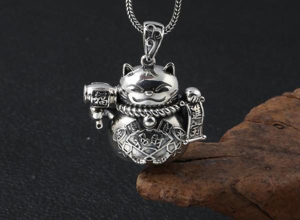 925 Gümüş servet hazine Sevimli Kedi kolye dekorasyon Kolye anahtarlık TAKI A2625