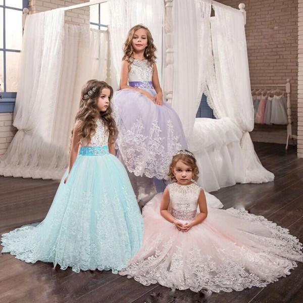 Elegantes Lila Ballkleid Für Blumenmädchen Prinzessin Mädchen Lange Ballkleider Kinder Weihnachtsfeier Kinder Stickerei Kleidung J190425