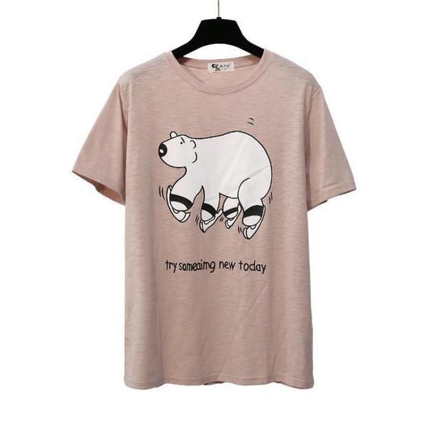 Fashion Bear Print T-shirt Women Summer Tees Bamboo Cotton Short Sleeve Tops Girl New Office Lady Cartoon T-shirts