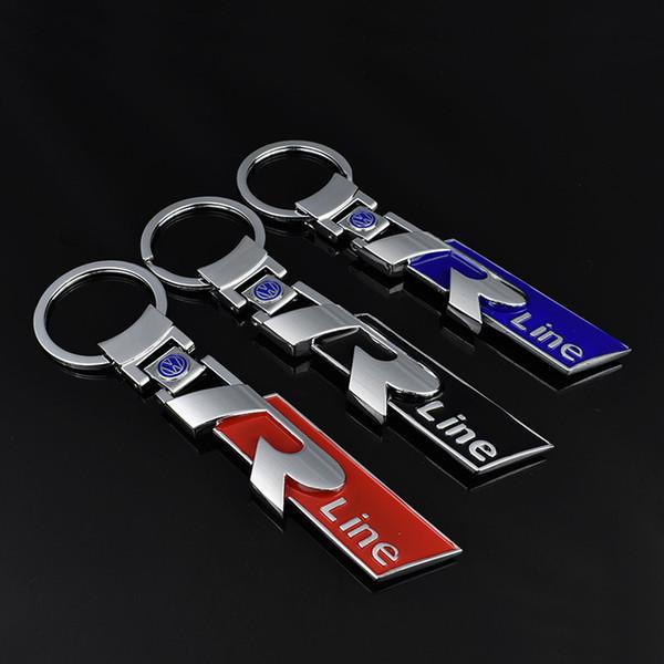 3D Alliage En Métal Porte-clés Porte-clés De Voiture Logo R Line Rline Fit pour Volkswagen VW Polo Passat CC R32 R36