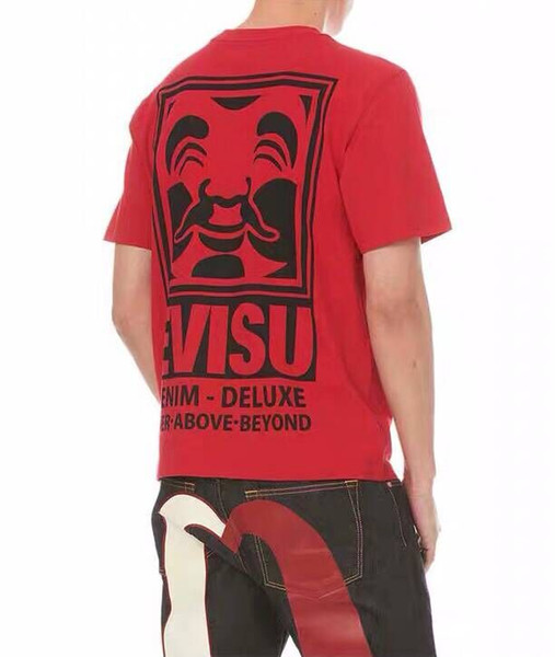 Logo popular pequeño m trasero Cabeza de buda Cabeza grande de impresión Cuello redondo Manga corta Negro rojo m-xxl