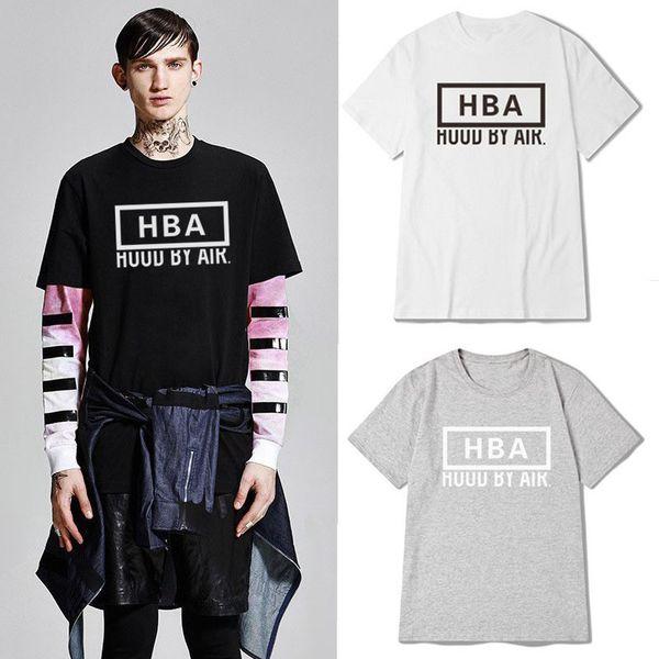 HBA Mens Designer Tshirts Summer Letter Stampa Tinta unita girocollo Adolescente Hip Hop Tshirt maniche corte Estate Mens Top