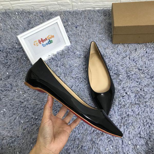 Chaussures à semelle rouge chaussures en cuir chaussures à talon plat noir Beige Chaussures à bout pointu Style femme luxe rouge bas chaussures habillées à plat