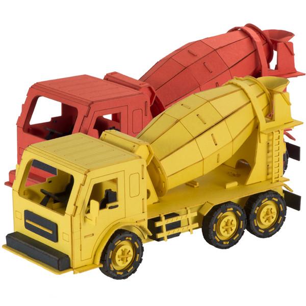Сделай сам образовательные строительные машины миксер бумага дизайн модель мини игрушка для детей 3d головоломки игры производитель оптом