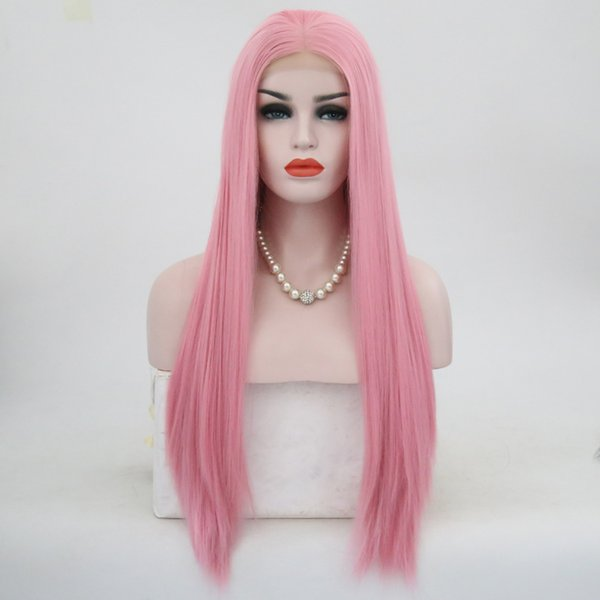Natural Silky Straight Hair Pink Wig Middle Part Heat Resistant Synthetic Lace Front Wig for White Women Glueless Cosplay Party Daily Wig