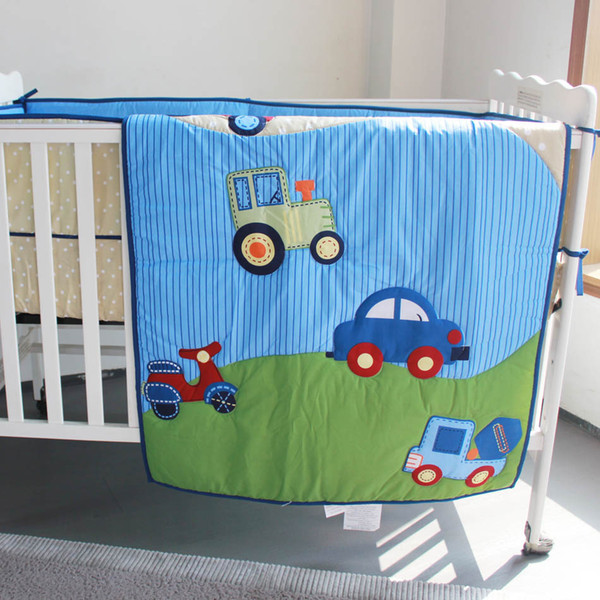 Hot Selling Crib bedding set 6Pcs Baby bedding set Baby cuna quilt Cotton Cot bumper set Lovely traffic Quilt Bumper Fitted Sheet