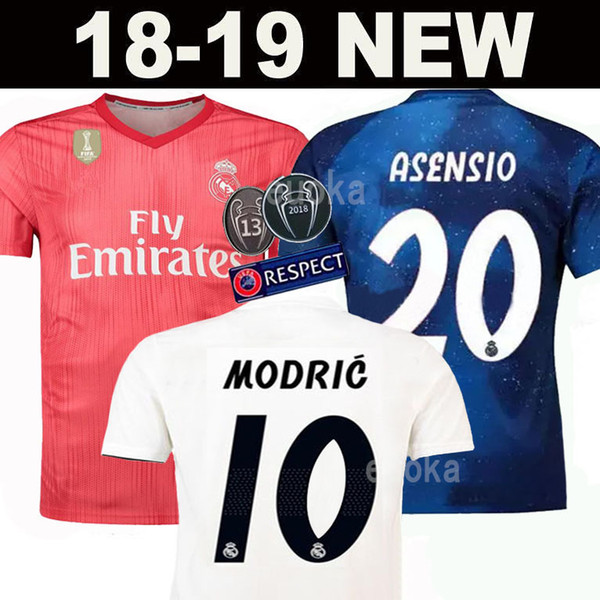 New 2019 Real Madrid home Soccer Jersey 18 19 Real Madrid away blue Soccer shirt 2018 MODRIC ASENSIO VINICIUS JR ISCO KROOS Football uniform