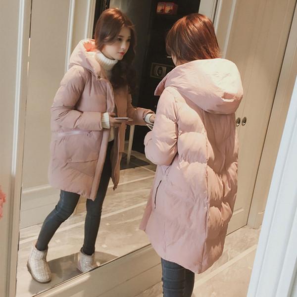 Chegada nova outono inverno longo da menina parkas Bohemian estilo de algodão quente com capuz zíperes de cor sólida rosa casacos femininos