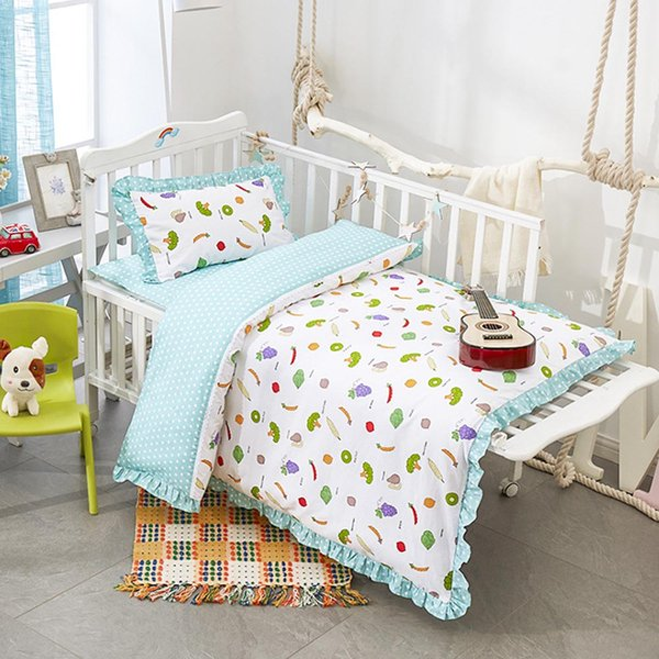Cotton Bed Kit For Boy Girl Cartoon Fruit Pattern Baby Bedding Set Includes Pillowcase Bed Sheet Duvet Cover Without Filler Twin Bedding Sets For