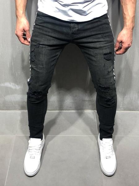 Flaco largo diseñador para hombre jeans moda agujero cinta con paneles delgado lápiz pantalones calle Hip-hop pantalones para hombre