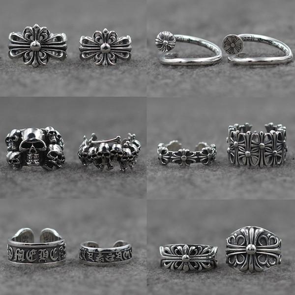 Gümüş Yüzükler Chro Yıldız Haçlılar Çiçek Tay Gümüş Yüzükler Açık Erkekler ve Kadınlar Yüzükler KKA4806