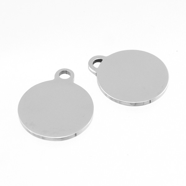 small mini 17mm round Loop Disc high polished semicircle hole Circle Pendant stainless steel Pendant wholesale 10pcs