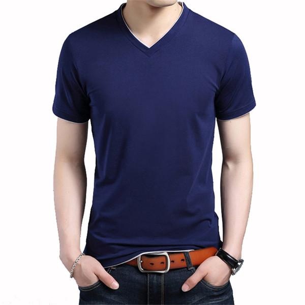 Nueva camiseta de verano para hombre Color sólido Algodón Casual Manga corta Moda con cuello en v camiseta homme Plus Asian Size S-5XL Slim Fit