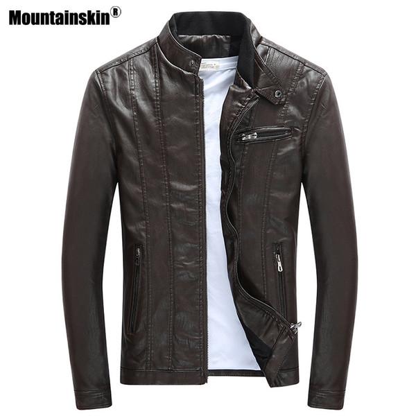 Mountainskin 2019 Erkek Pu Ceketler Mont Motosiklet Biker Faux Deri Ceket Erkekler Sonbahar Kış Giysileri Kalın Kadife Ceket Sa590 T2190614