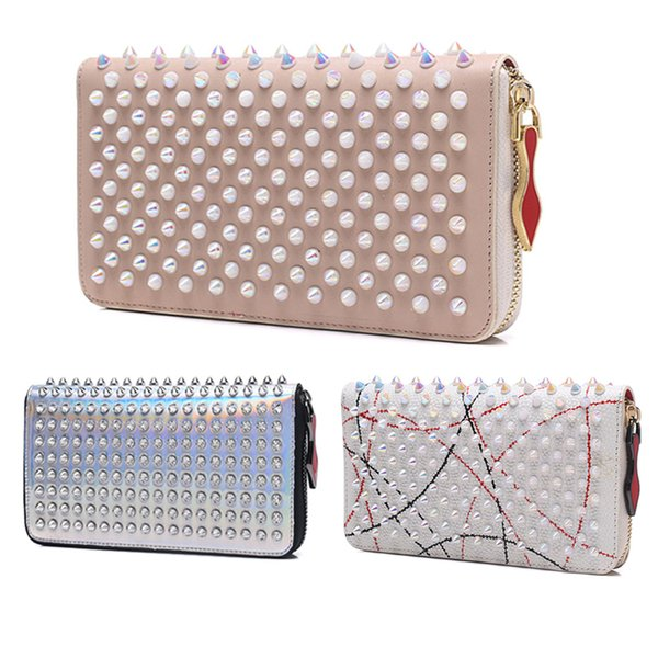 hotsale Fashion classic Designer Luxury Handbags purses for women Fashion designer Clutch Bags Zipper Leather with spike rivet Party