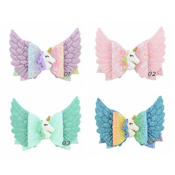 Enfants Sequin aile d'ange mignon Hairpins bébé Cartoon Unicorn Shiny Glitter Barrettes enfants Princesse Party Barrettes TTA1887-12