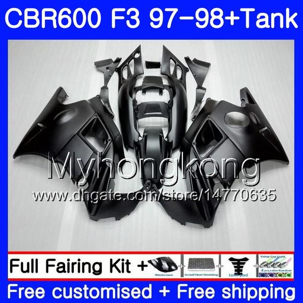 Bodys +Tank For HONDA CBR600FS CBR 600F3 CBR 600 F3 FS 97 98 290HM.49 CBR600RR Matte black full CBR600F3 1997 1998 CBR600 F3 97 98 Fairing