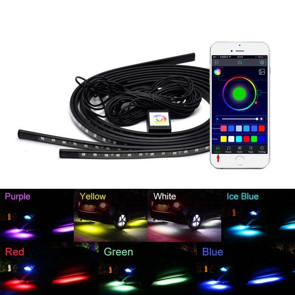 4x Auto Unterlicht Flexible Streifen LED APP / Fernbedienung RGB Dekorative Atmosphäre Lampe Unter Rohr Unterbodensystem Neonlicht Kit