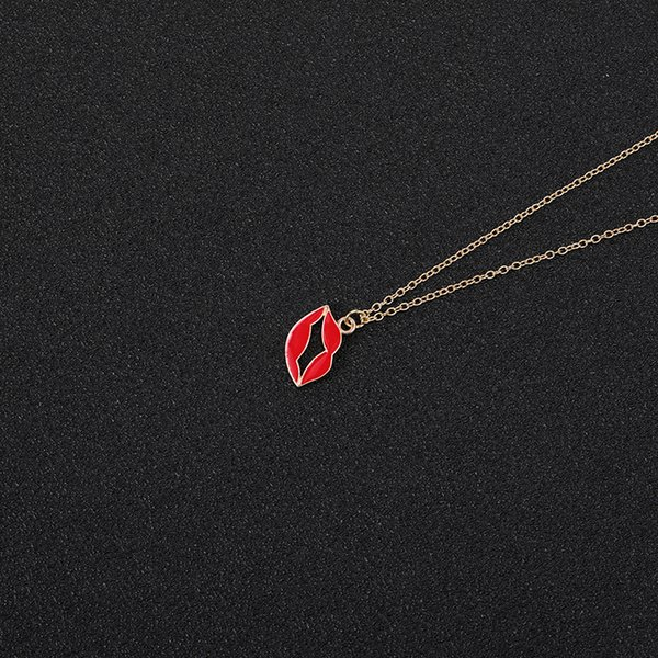 Cartoon Enamel Ice Cream Popsicle Necklace Colorful Rainbow Bridge Cloud Necklace Red Color Lip Chain Necklaces for Women jewelry