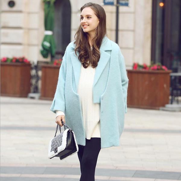 Women Maternity woolen coats fashion solid jacket  good quality coats Pregnancy women blue breastfeeding clothes ws88