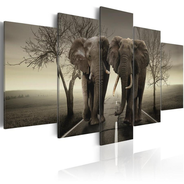 ( No Frame)5PCS/Set Modern Animal Parallel Elephants Art Print Frameless Canvas Painting Wall Picture Home Decoration