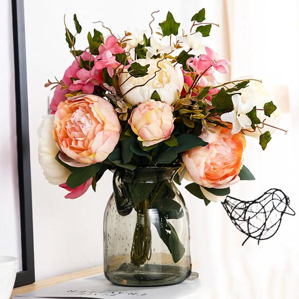 11 capitules Pivoine artificielle Bouquet Faux soie Roses mariage jardin Décoration bricolage nuptiale Couronne flores artificiales
