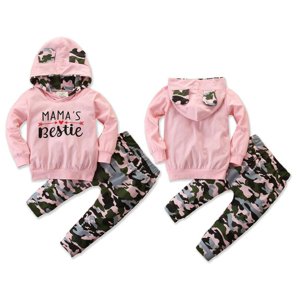 0-24M Newborn Baby Girls Clothes Hooded Tops T-shirt Camo Pants Leggings Outfits