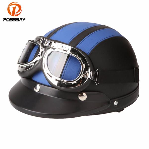 POSSBAY Motorcycle Goggles Scooter Half Leather Open Face Helmet or Visor UV Goggles Retro Vintage 54-60cm Cafe Racer Helmets